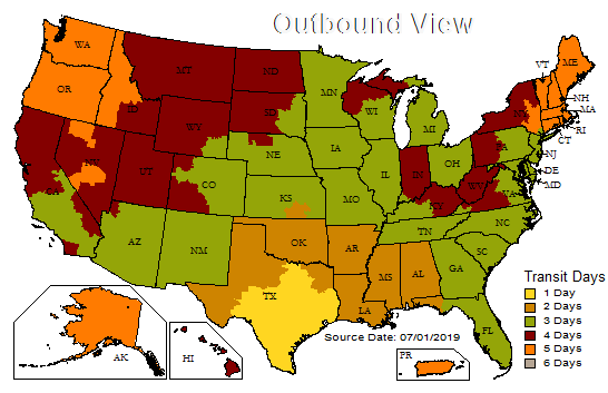UPS Delivery Map